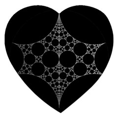 Drawing Of A White Spindle On Black Jigsaw Puzzle (heart) by Nexatart