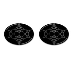 Drawing Of A White Spindle On Black Cufflinks (oval) by Nexatart
