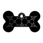 Drawing Of A White Spindle On Black Dog Tag Bone (One Side) Front