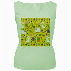 Cute Easter Pattern Women s Green Tank Top