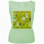 Cute Easter pattern Women s Green Tank Top Front