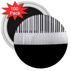 Piano Keys On The Black Background 3  Magnets (100 Pack)