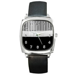 Piano Keys On The Black Background Square Metal Watch