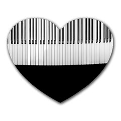 Piano Keys On The Black Background Heart Mousepads
