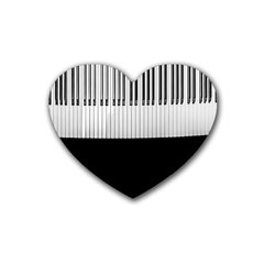 Piano Keys On The Black Background Heart Coaster (4 Pack)  by Nexatart