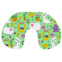 Cute Easter Pattern Travel Neck Pillows by Valentinaart