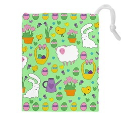 Cute Easter Pattern Drawstring Pouches (xxl) by Valentinaart
