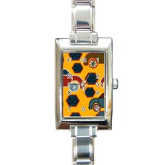 Husbands Cars Autos Pattern On A Yellow Background Rectangle Italian Charm Watch by Nexatart