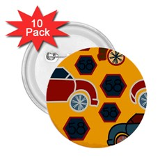 Husbands Cars Autos Pattern On A Yellow Background 2 25  Buttons (10 Pack)