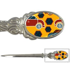 Husbands Cars Autos Pattern On A Yellow Background Letter Openers by Nexatart