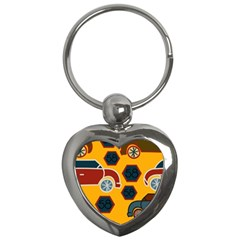 Husbands Cars Autos Pattern On A Yellow Background Key Chains (heart)  by Nexatart