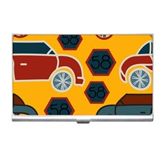 Husbands Cars Autos Pattern On A Yellow Background Business Card Holders by Nexatart