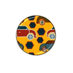Husbands Cars Autos Pattern On A Yellow Background Hat Clip Ball Marker by Nexatart