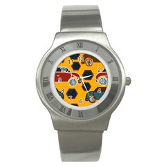 Husbands Cars Autos Pattern On A Yellow Background Stainless Steel Watch