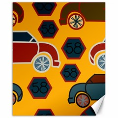 Husbands Cars Autos Pattern On A Yellow Background Canvas 16  X 20