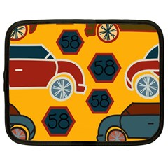 Husbands Cars Autos Pattern On A Yellow Background Netbook Case (large) by Nexatart