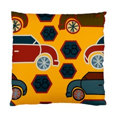 Husbands Cars Autos Pattern On A Yellow Background Standard Cushion Case (one Side) by Nexatart