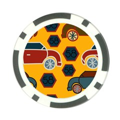 Husbands Cars Autos Pattern On A Yellow Background Poker Chip Card Guard (10 Pack) by Nexatart