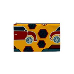 Husbands Cars Autos Pattern On A Yellow Background Cosmetic Bag (small)  by Nexatart