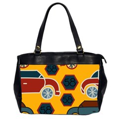 Husbands Cars Autos Pattern On A Yellow Background Office Handbags (2 Sides)