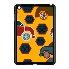 Husbands Cars Autos Pattern On A Yellow Background Apple Ipad Mini Case (black) by Nexatart