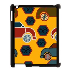 Husbands Cars Autos Pattern On A Yellow Background Apple Ipad 3/4 Case (black) by Nexatart