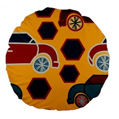 Husbands Cars Autos Pattern On A Yellow Background Large 18  Premium Round Cushions by Nexatart