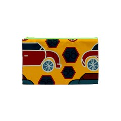 Husbands Cars Autos Pattern On A Yellow Background Cosmetic Bag (xs)