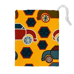 Husbands Cars Autos Pattern On A Yellow Background Drawstring Pouches (extra Large) by Nexatart