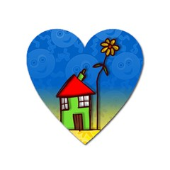 Colorful Illustration Of A Doodle House Heart Magnet by Nexatart