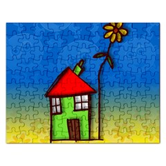 Colorful Illustration Of A Doodle House Rectangular Jigsaw Puzzl