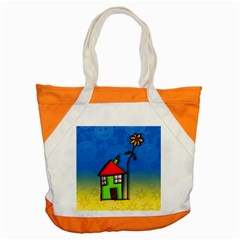 Colorful Illustration Of A Doodle House Accent Tote Bag