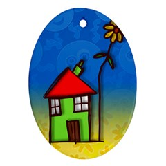 Colorful Illustration Of A Doodle House Oval Ornament (two Sides)