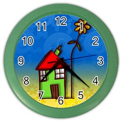 Colorful Illustration Of A Doodle House Color Wall Clocks