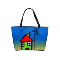 Colorful Illustration Of A Doodle House Shoulder Handbags by Nexatart