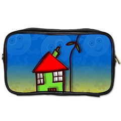 Colorful Illustration Of A Doodle House Toiletries Bags 2 Side