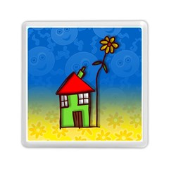Colorful Illustration Of A Doodle House Memory Card Reader (square)  by Nexatart