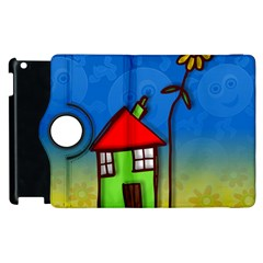 Colorful Illustration Of A Doodle House Apple Ipad 2 Flip 360 Case by Nexatart