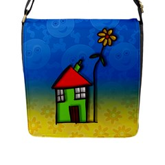 Colorful Illustration Of A Doodle House Flap Messenger Bag (l)