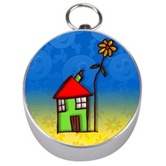 Colorful Illustration Of A Doodle House Silver Compasses by Nexatart