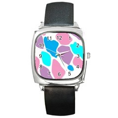Baby Pink Girl Party Pattern Colorful Background Art Digital Square Metal Watch by Nexatart