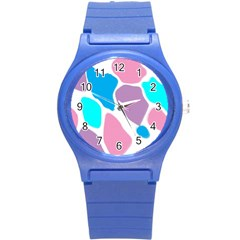 Baby Pink Girl Party Pattern Colorful Background Art Digital Round Plastic Sport Watch (s) by Nexatart