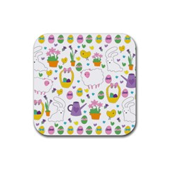 Cute Easter Pattern Rubber Square Coaster (4 Pack)  by Valentinaart
