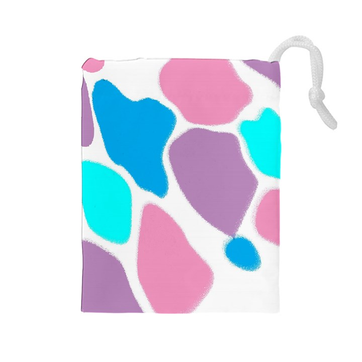 Baby Pink Girl Party Pattern Colorful Background Art Digital Drawstring Pouches (Large)