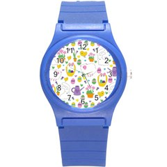 Cute Easter Pattern Round Plastic Sport Watch (s) by Valentinaart