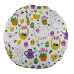 Cute Easter Pattern Large 18  Premium Round Cushions by Valentinaart