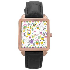 Cute Easter Pattern Rose Gold Leather Watch  by Valentinaart