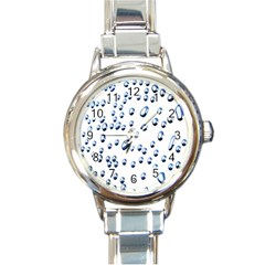 Water Drops On White Background Round Italian Charm Watch by Nexatart