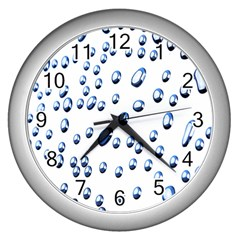 Water Drops On White Background Wall Clocks (silver)  by Nexatart