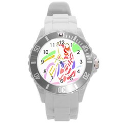 Motorcycle Racing The Slip Motorcycle Round Plastic Sport Watch (l)